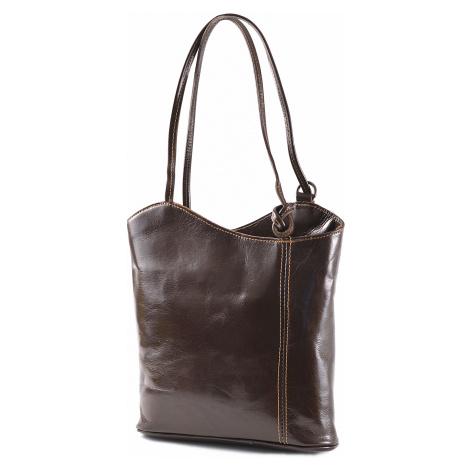 Dámský kabelko-batoh kožený tmavě hnědý, 28 x 7 x 30 (1043-93)