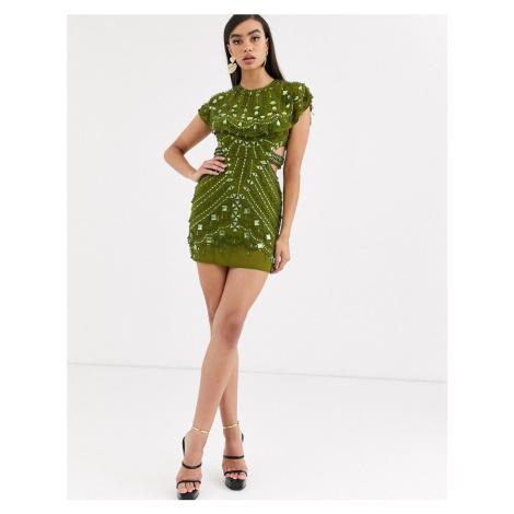 ASOS DESIGN embellished cape mini dress-Green