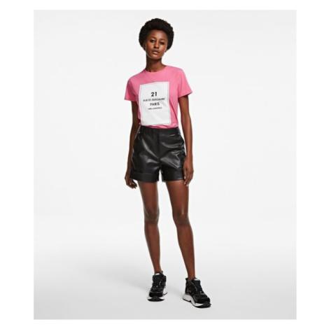 Šortky Karl Lagerfeld Faux Leather Shorts - Černá