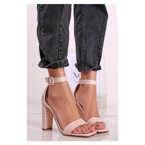 Béžové sandály na hrubém podpatku Sandy Sergio Todzi