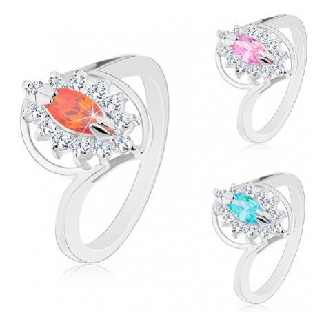 Prsten ve stříbrném odstínu, broušený zrnkovitý zirkon, čirá obruba