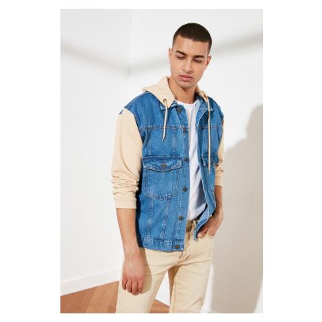 Trendyol Blue Men's Knitted Sleeves And Knitted Hooded Regular Denim Jacket