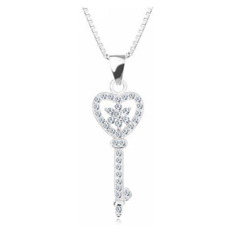 Stříbrný 925 náhrdelník - řetízek s přívěskem, zirkonový klíč - srdce, květ Šperky eshop