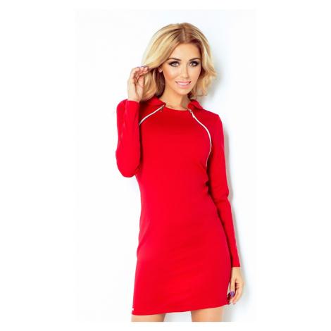 Červené šaty s dvěma zipy a malým límečkem 130-2 NUMOCO