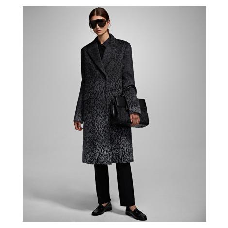 Kabát Karl Lagerfeld Karl X Carine Leopard Coat - Šedá