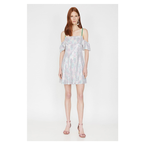 Koton Women's Mixed Strap Short Sleeve Mini Dress