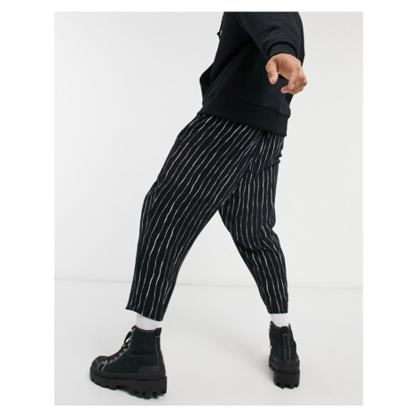 ASOS DESIGN balloon fit trousers in black and white stripe