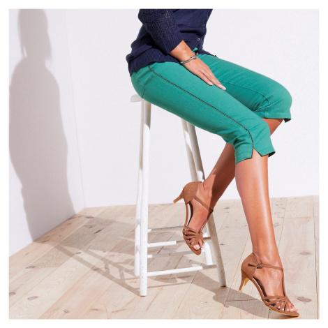 Blancheporte Barevné prodlužující korzárské kalhoty zelená