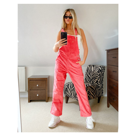 Adidas Originals 'Comfy Cords' corduroy dungarees in pink