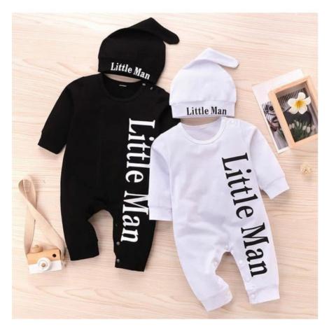 Overal kojenecký bavlněný a čepice, Little Man, bílá