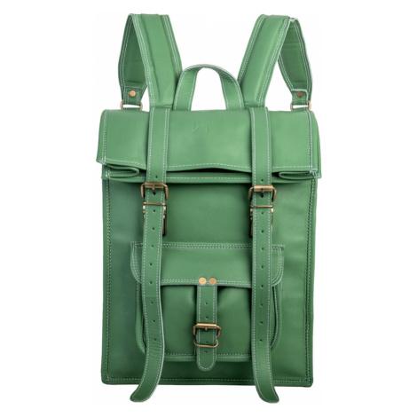 Bagind Rollin Jungle - Dámský i pánský kožený batoh světle zelený, ruční výroba, český design