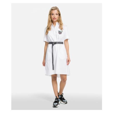 Šaty Karl Lagerfeld Karlifornia Poplin Shirt Dress - Bílá