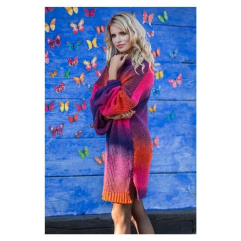 Dámské svetrové barevné šaty s rozparky F582 Fobya