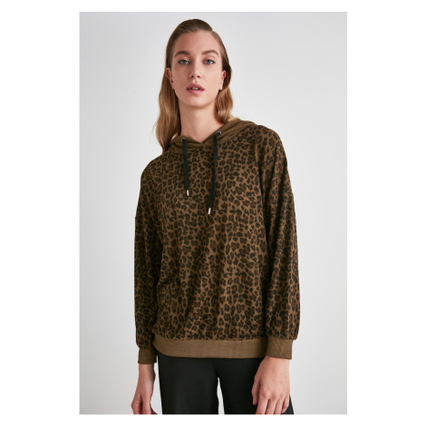 Trendyol Khaki Hooded Knitted Sweatshirt