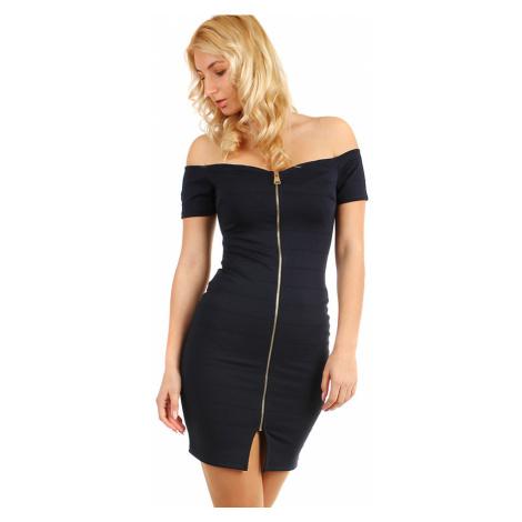 Jednobarevné dámské mini šaty s výrazným zipem