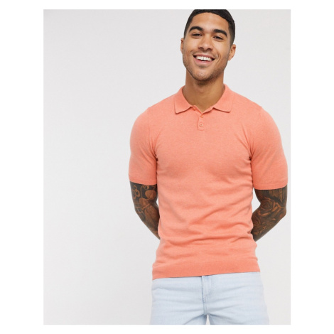 ASOS DESIGN knitted muscle fit polo neck t-shirt in salmon-Pink