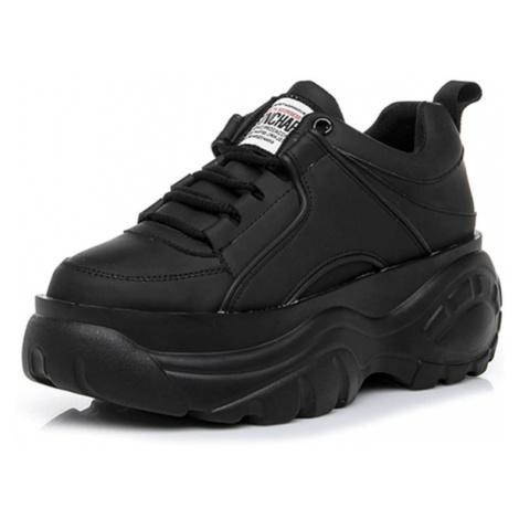 Černé kožené tenisky bílé vysoké boty na platformě s tkaničkami