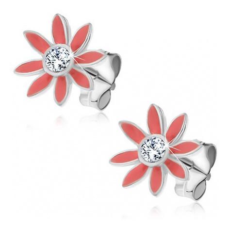Náušnice ze stříbra 925 - pastelově růžové kvítky se zirkonem Šperky eshop