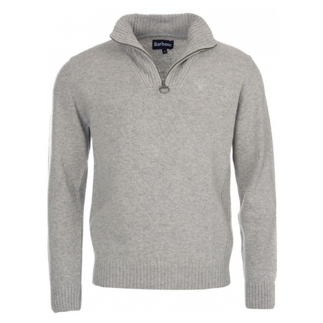 Zapínací svetr Barbour Essential Lambswool Half Zip - světle šedý
