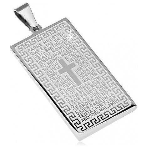 Přívěsek z chirurgické oceli, obdélníková známka s modlitbou a křížem