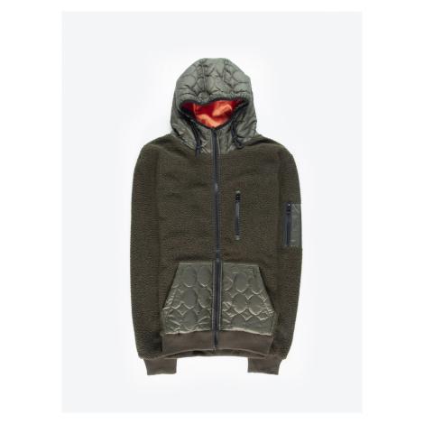 GATE Chlupatá mikina na zip s kapucí
