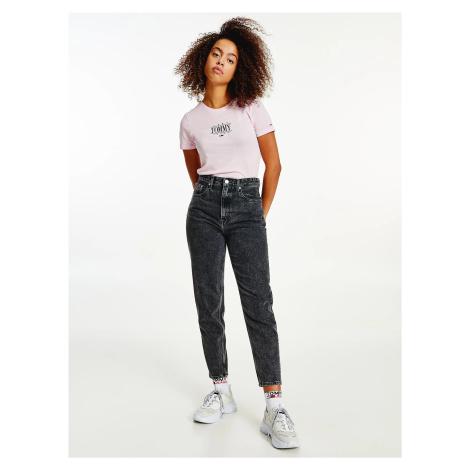 Tommy Jeans dámské světle růžové triko Tommy Hilfiger
