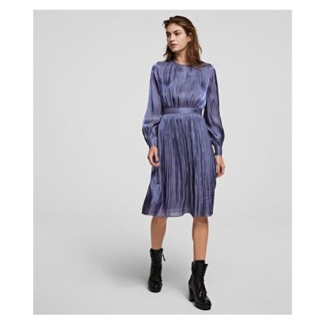 Šaty Karl Lagerfeld Pleated Iridescent Dress - Fialová