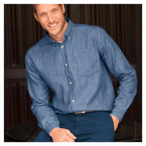 Blancheporte Džínová košile s dlouhými rukávy sepraná modrá