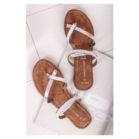 Bílo-stříbrné pantofle 2-27106 Marco Tozzi