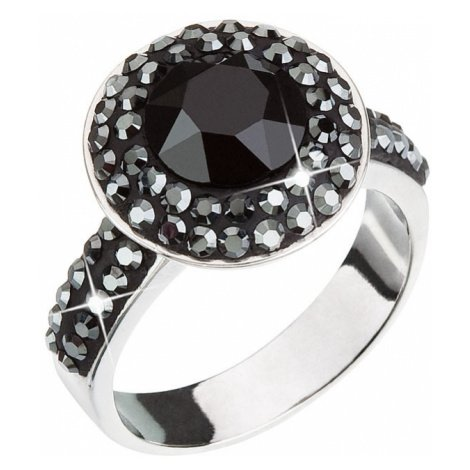 Stříbrný prsten s krystaly černý 35019.5