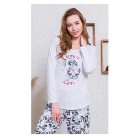 Dámské pyžamo dlouhé Buldočci, XL, světle šedá Vienetta Secret