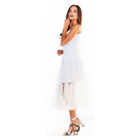 Bílá tylová volánová sukně A354 Awama