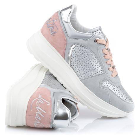 Tenisky La Martina Woman Shoes Laminato Forato - Šedá