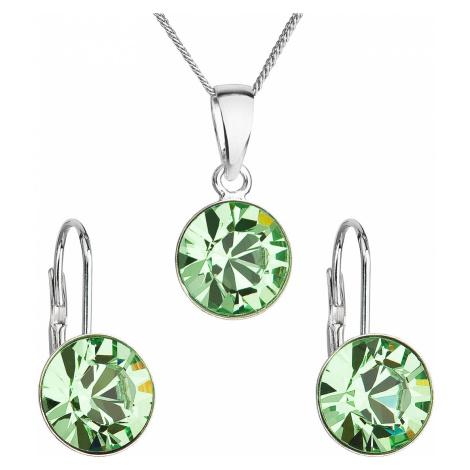 Sada šperků s krystaly Swarovski náušnice, řetízek a přívěsek zelené kulaté 39140.3 peridot Victum