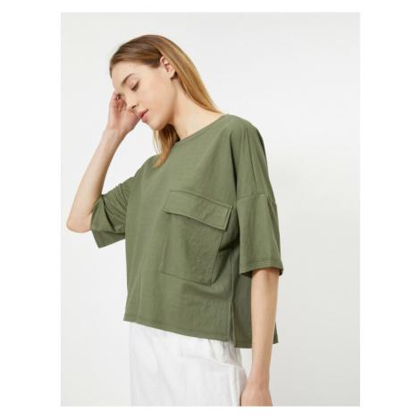 Koton Women's Green Pocket Detailed 3/4 Sleeve T-Shirt
