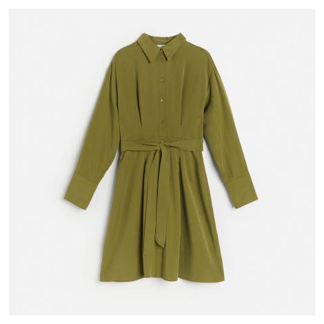 Reserved - Košilové šaty z lyocellu - Khaki