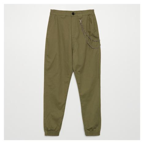 Cropp - Kalhoty joggers high waist s řetízkem - Khaki