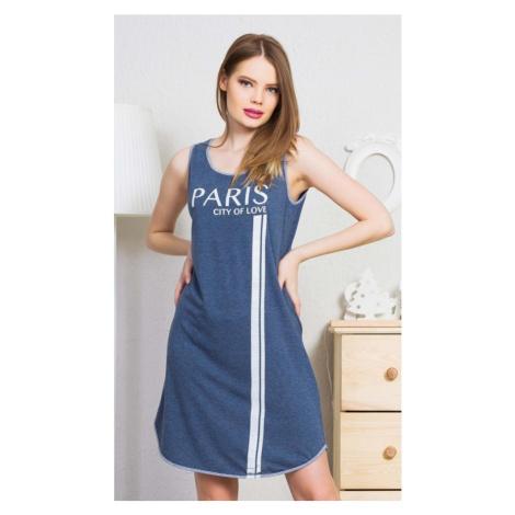 Dámská noční košile na ramínka Paris, S, modrá Vienetta Secret