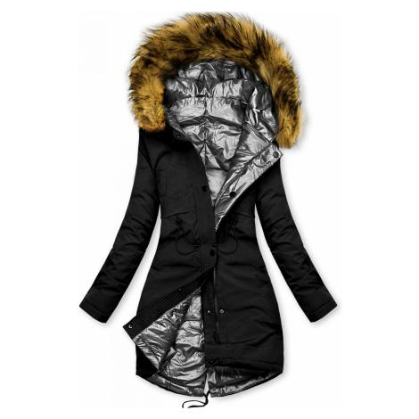 Černo-stříbrná oboustranná zimní bunda Butikovo