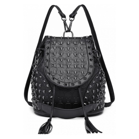 Černý dámský batoh / kabelka s lebkami Daan Lulu Bags