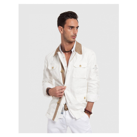 Bunda La Martina Man Outdoor Jacket Cotton Twil - Bílá