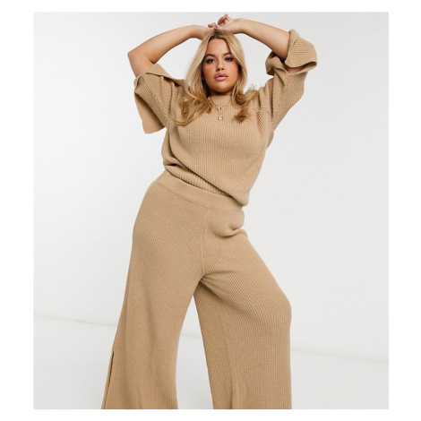 ASOS DESIGN Curve lounge premium knitted trouser with splits-Tan