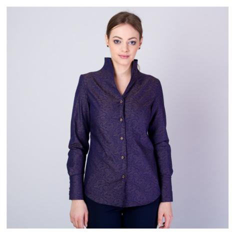 Dámská košile s vysokým límečkem a hnědým vzorem 11705 Willsoor