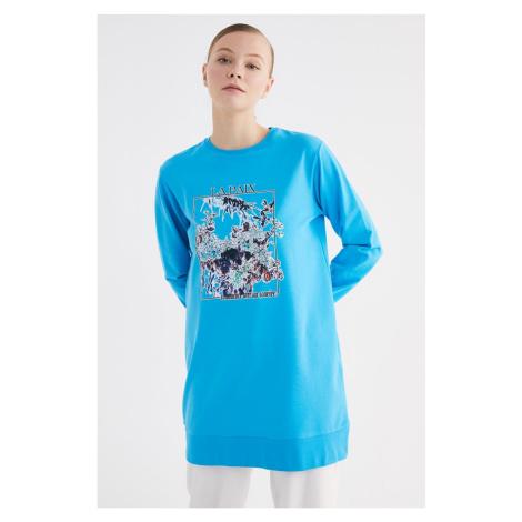 Trendyol Turquoise Printed Knitted Sweatshirt
