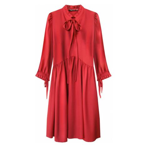 Červené dámské šaty s volánkovým stojáčkem (208ART) červená INPRESS