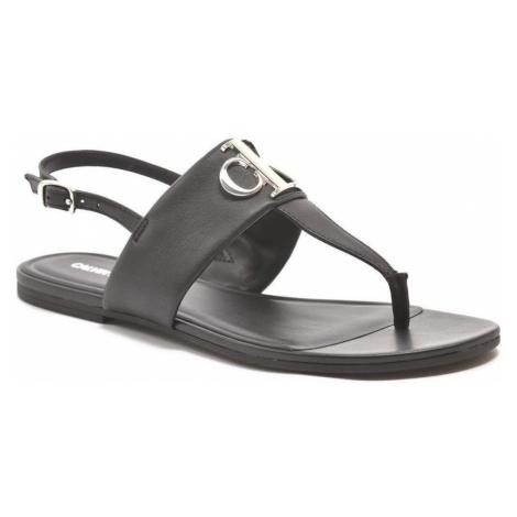 Calvin Klein Jeans Plochý sandál Hw Lth Black Černá