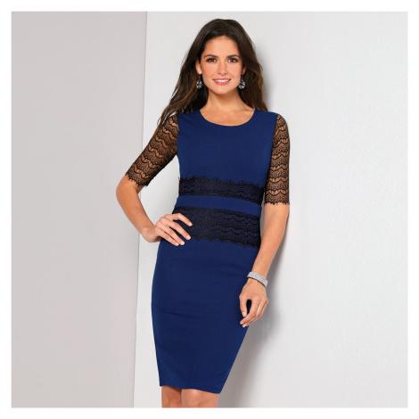Šaty s krajkou a krátkými rukávy královská modrá