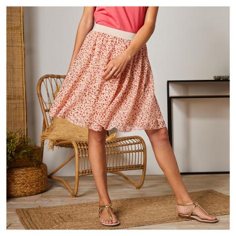 Blancheporte Krátká sukně s minimalistickým vzorem béžová/korálová