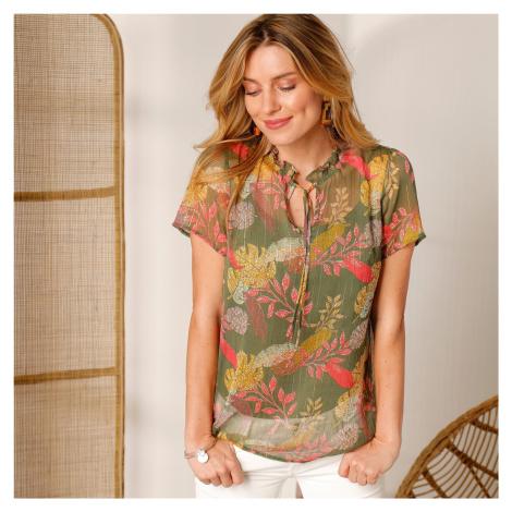 Blancheporte Voálová košilová halenka s potiskem bronzová/růžová