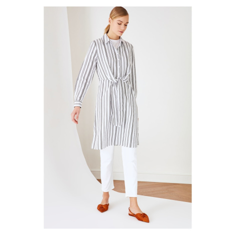 Trendyol White Tie Detailed Tunic Dress